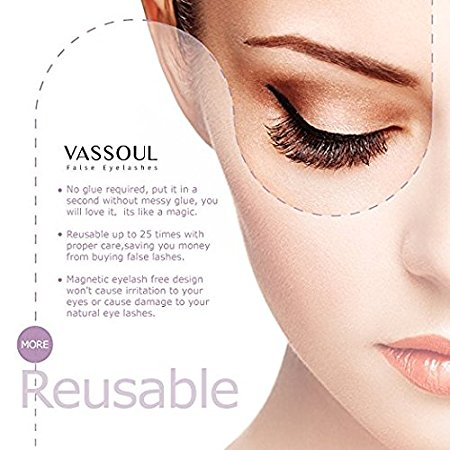 15ab8d2233e PerfectoStore 8Pcs Vassoul Dual Magnetic False Eyelashes – Ultra-thin 0.2mm  Fake Lashes- 3D Handmade Reusable Fake Eyelashes – Ultra Soft Natural Look,  ...