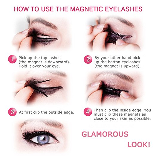 Magnetic Eyelashes 3 Magnets Magnetic Lashes 3 Lash Magnetic Fake Eye Lashes 3D Reusable Soft False Eyelashes No Glue Cover the Entire Eyelids for Natural Look (4 PCS)
