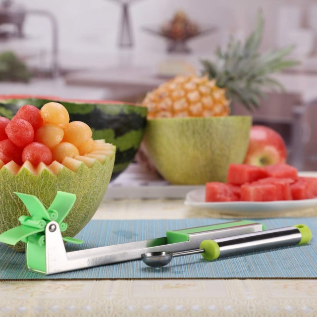 PerfectoStore Watermelon Windmill Cutter Stainless Steel Watermelon Slicer Cutter Knife Corer Fruit Vegetable Tools Kitchen Gadgets
